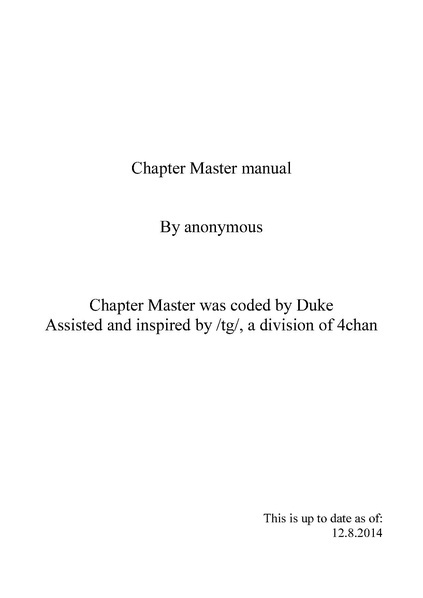 Chapter Master (game) - 1d4chan
