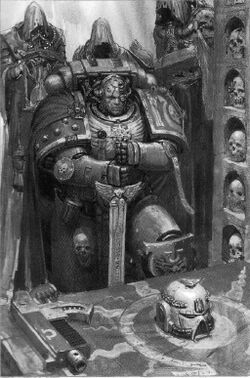 Space marines 1d4chan marine with half his fucking face missing skulls in the wall bolter laying ready and servitors with hoods swinging censers fandeluxe Choice Image